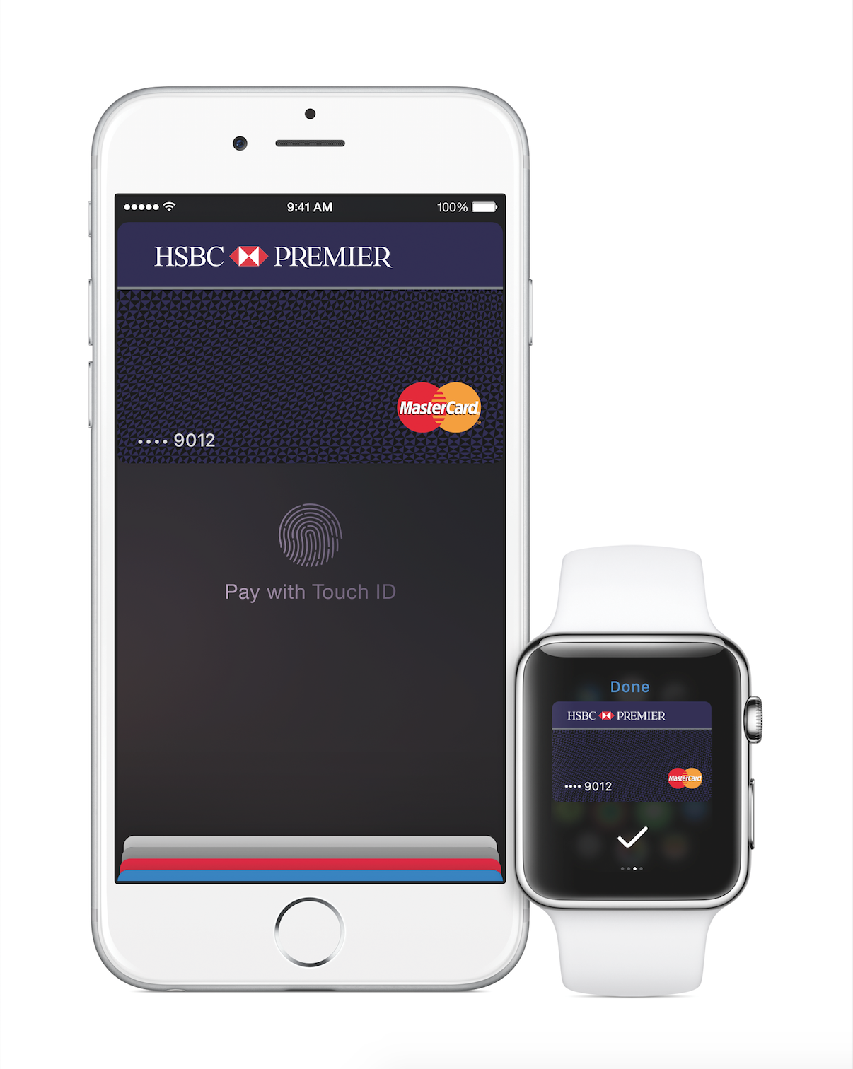 Apple Pay app showing an HSBC MasterCard card