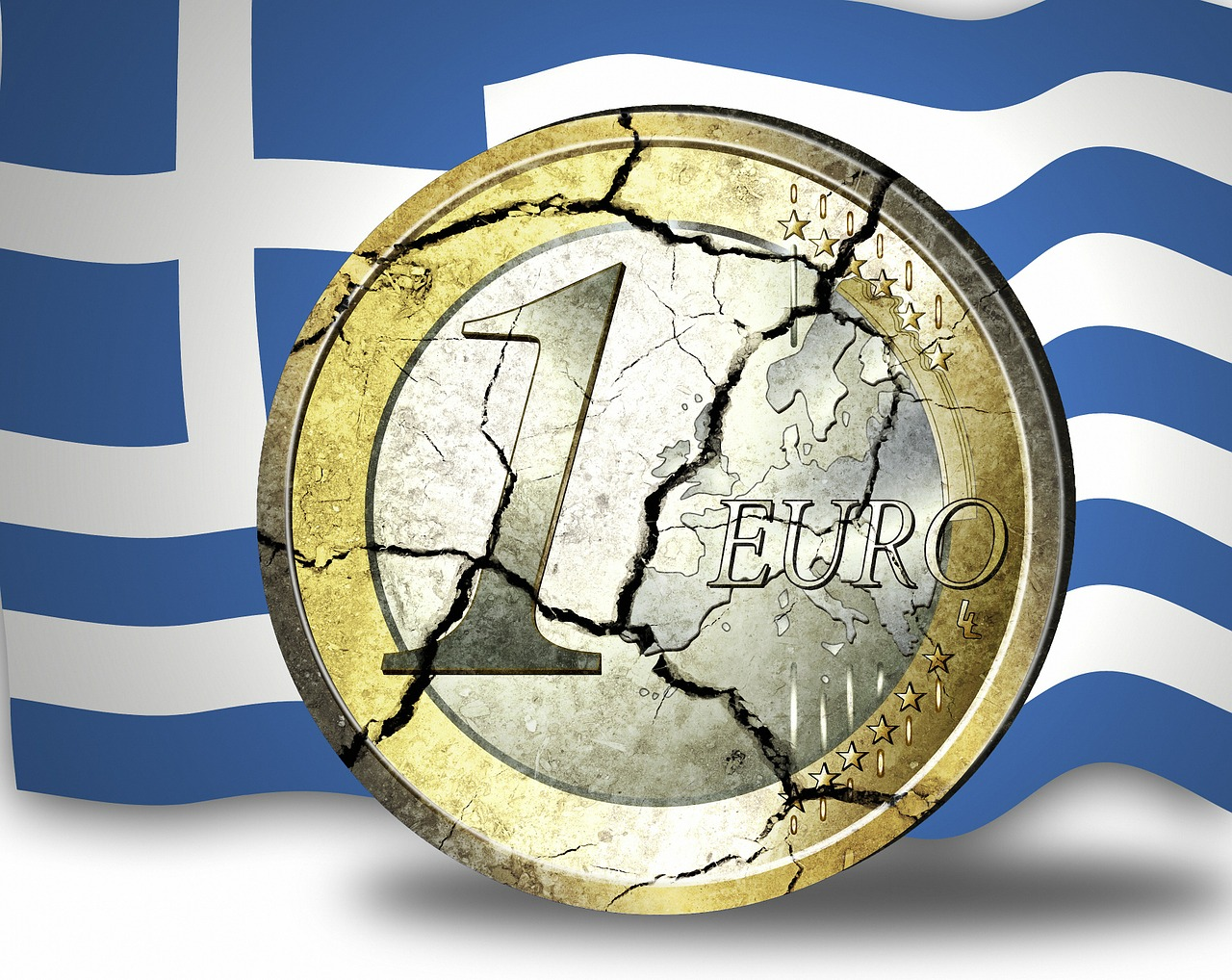 shattered Euro coin in front of Greek flag