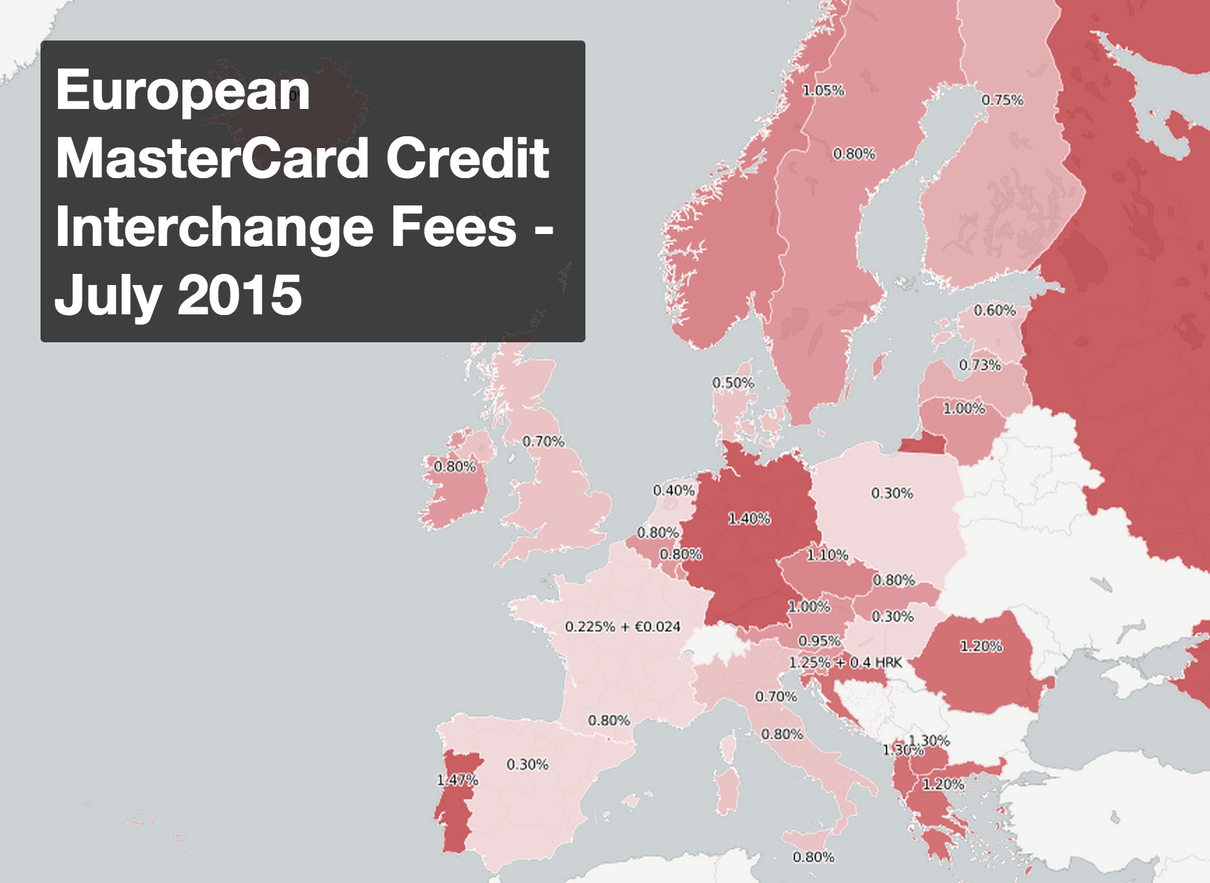 Map of MasterCard Interchange Fees by European Country